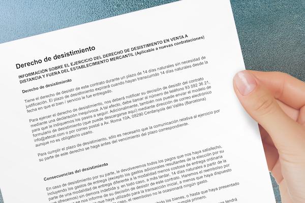 Derecho Desistimiento - Derechos del servicio